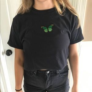 Black and green butterfly tee
